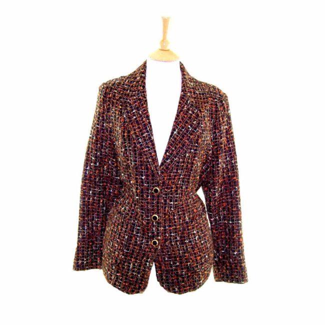 Ladies Black Checked Wool Jacket