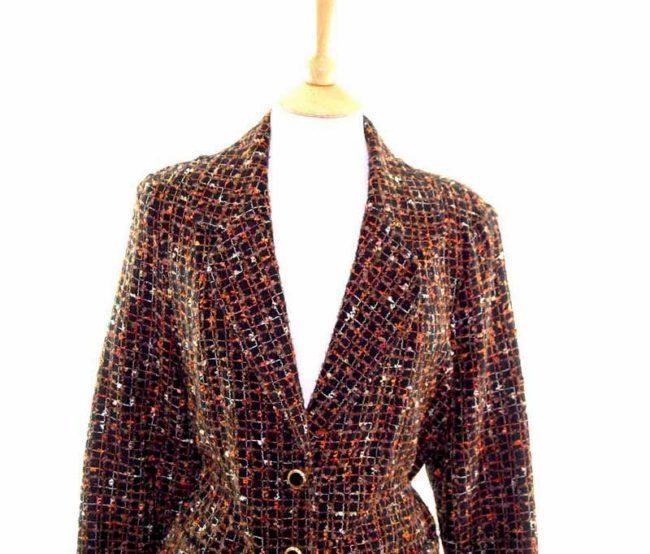 Ladies Black Checked Wool Jacket front