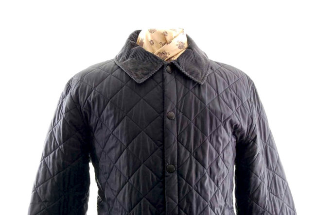 Barbour Navy Diamond Quilted Jacket closeup