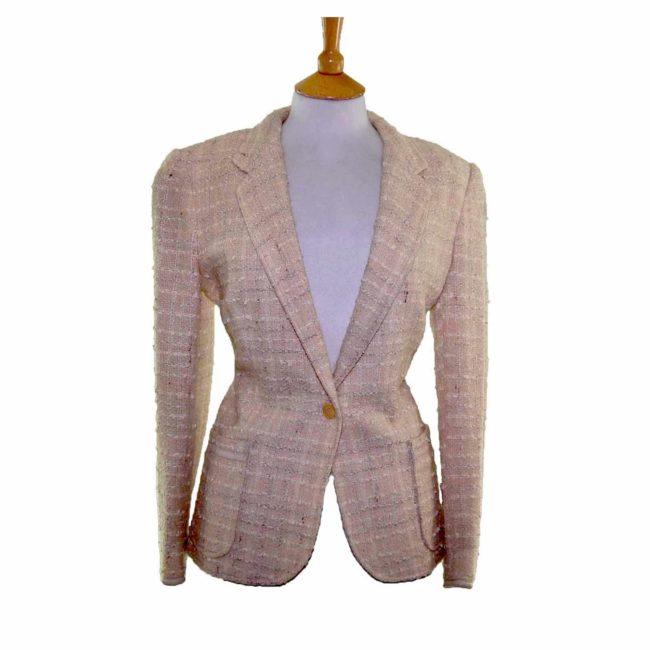 Textured Checked Cream Wool Jacket