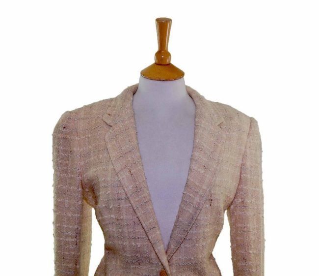 Textured Checked Cream Wool Jacket front