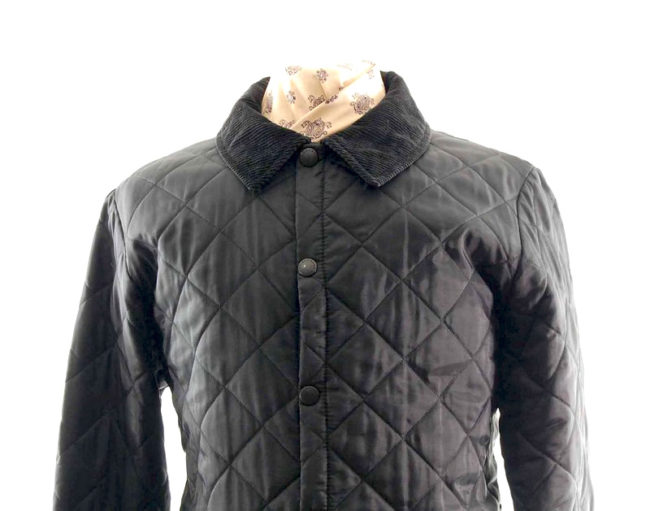 Front close up of Barbour Black Quilted Jacket