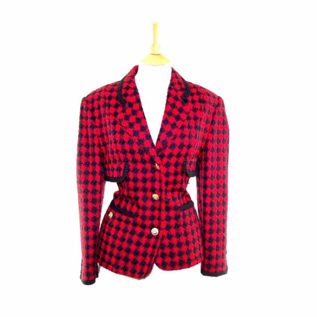 Ladies Red Checked Wool Jacket