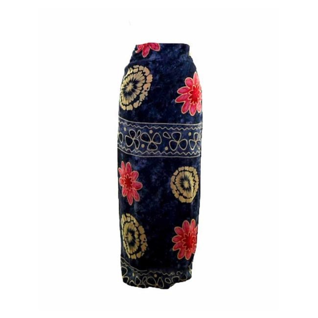 90s Navy Floral Printed Wrap Skirt