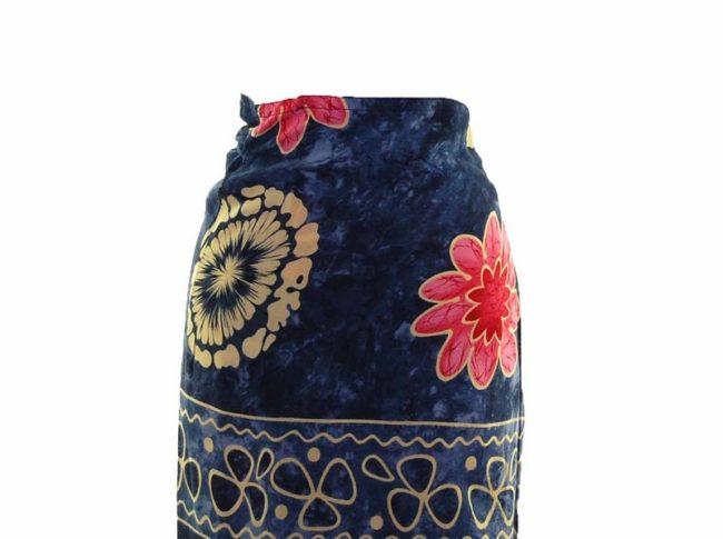 90s Navy Floral Printed Wrap Skirt closeup