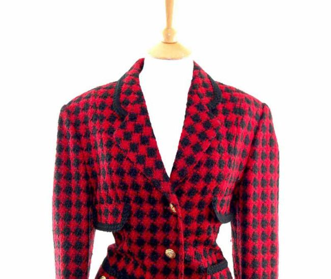 Ladies Red Checked Wool Jacket closeup