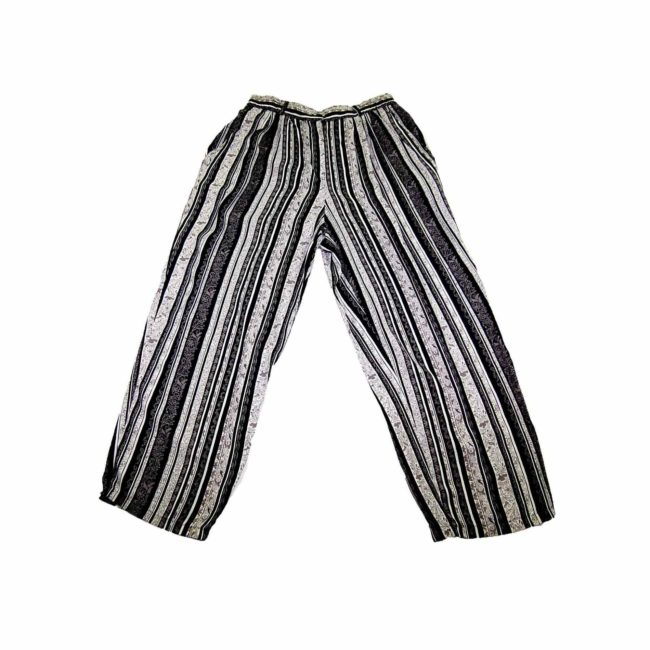 90s Black Striped Floral Straight Leg Trousers