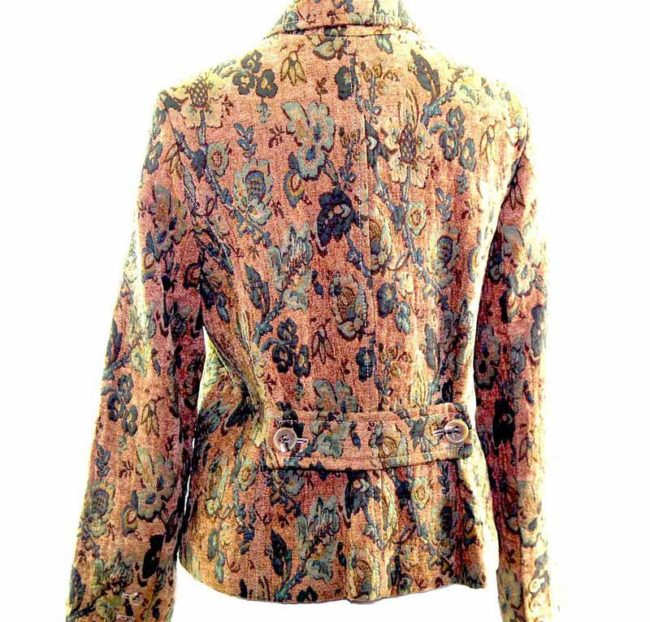 Ladies Green Floral Tapestry Jacket back