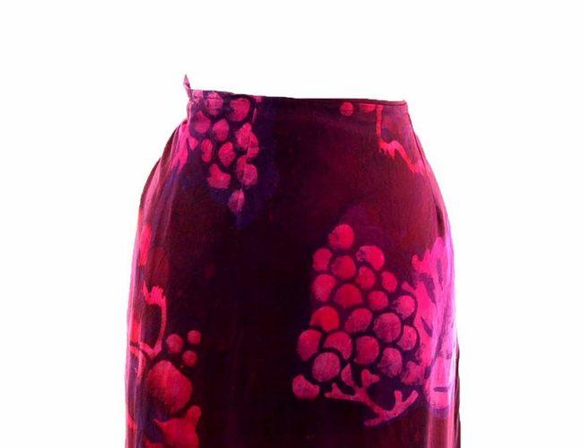 90s Purple Printed Wrap Skirt closeup