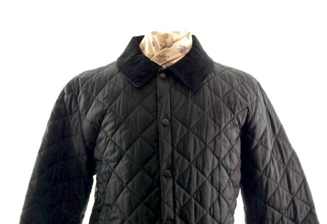 Barbour Quilted Black Jacket closeup