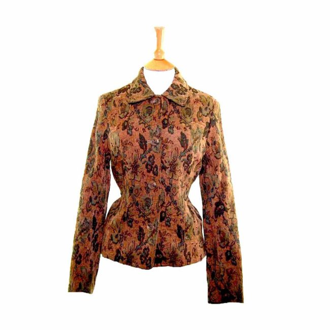Ladies Green Floral Tapestry Jacket