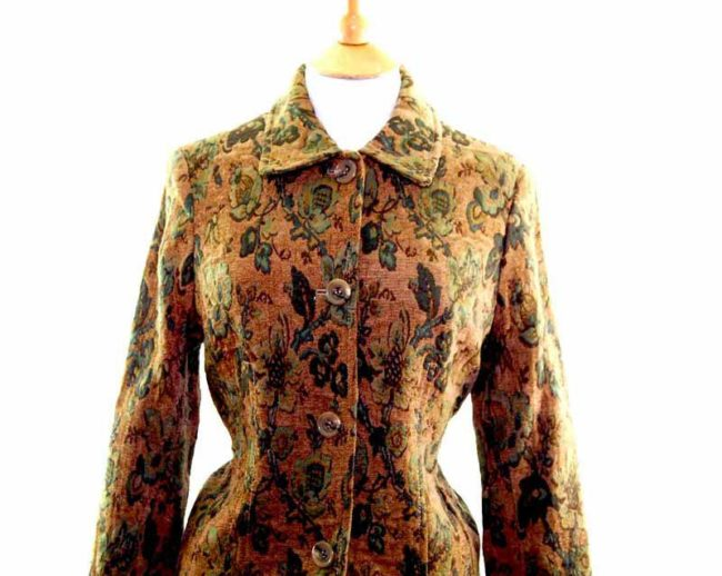 Ladies Green Floral Tapestry Jacket front