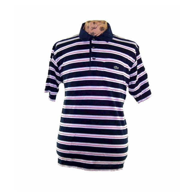Lacoste White Striped Navy Polo Shirt