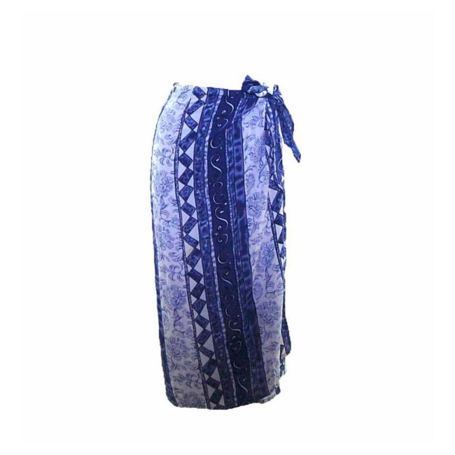 90s Blue Striped Printed Wrap Skirt