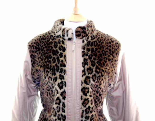 Leopard Print Faux Fur Jacket Front