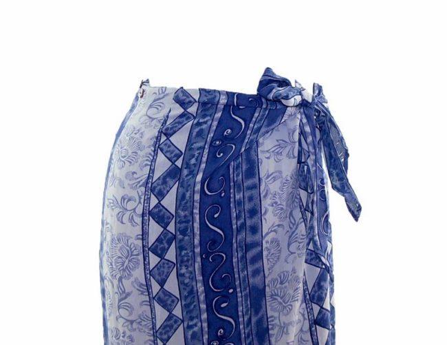 90s Blue Striped Printed Wrap Skirt closeup