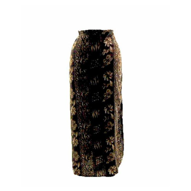 90s Brown Striped Printed Wrap Skirt