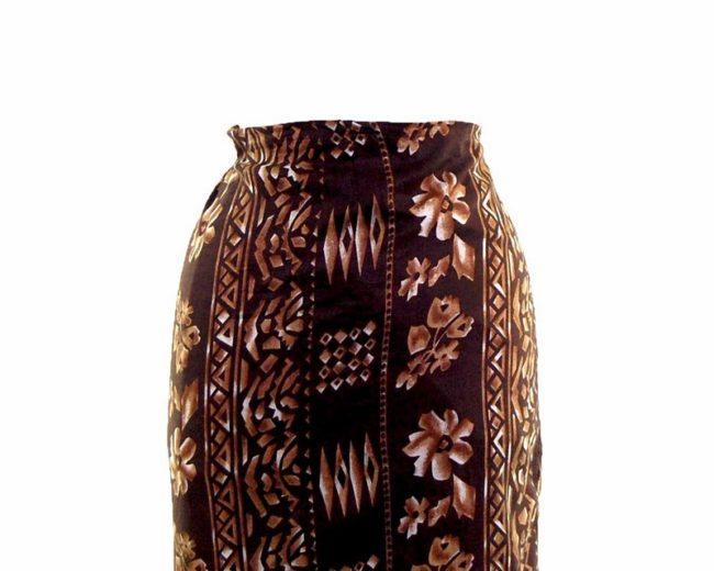 90s Brown Striped Printed Wrap Skirt closeup