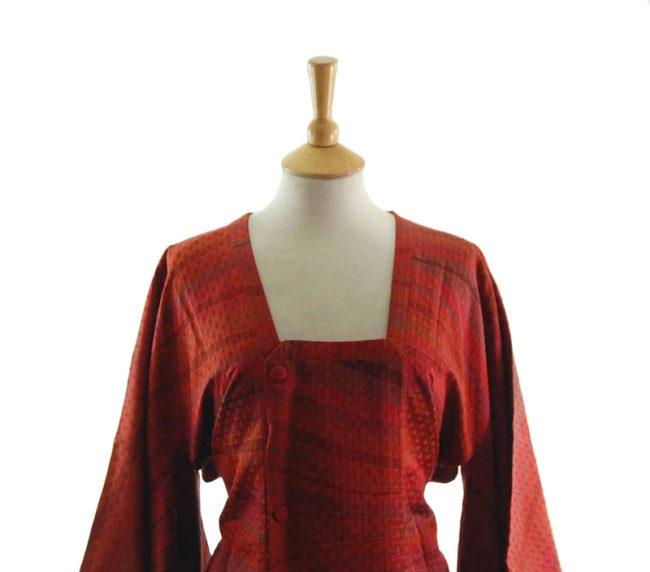 Bright Red Striped Michiyuki Jacket closeup
