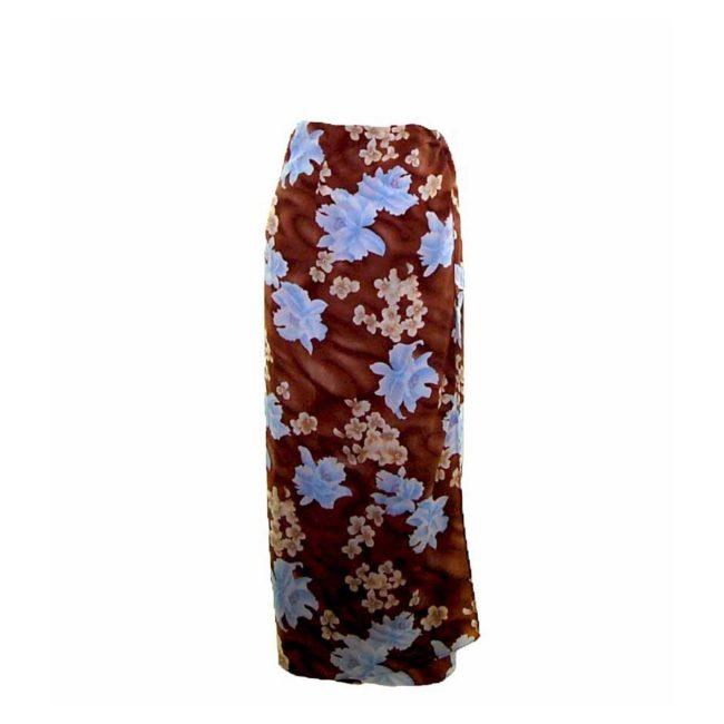 90s Brown Blossom Wrap Skirt