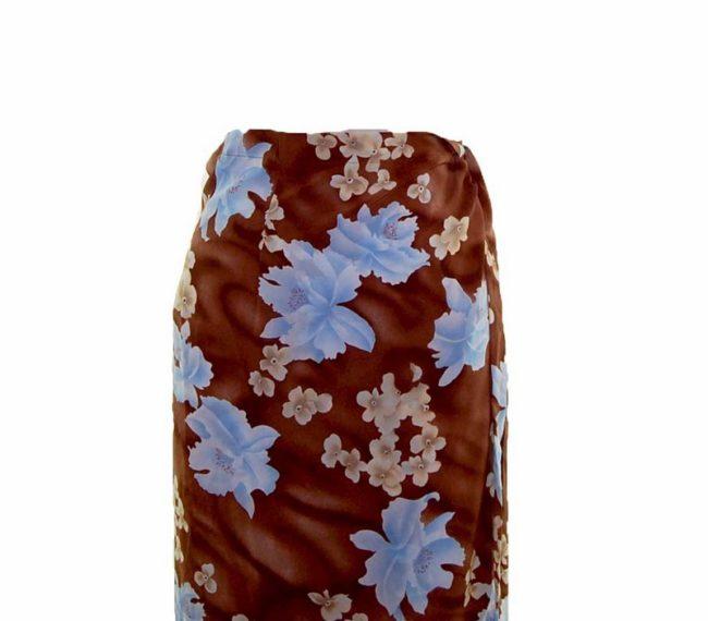 90s Brown Blossom Wrap Skirt closeup