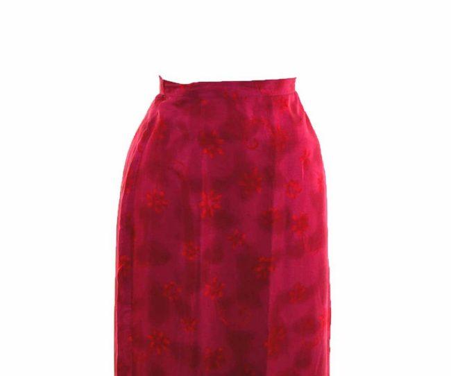 90s Pink Floral Printed Wrap Skirt closeup