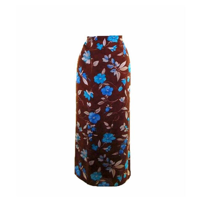 90s Brown Blue Floral Printed Wrap Skirt