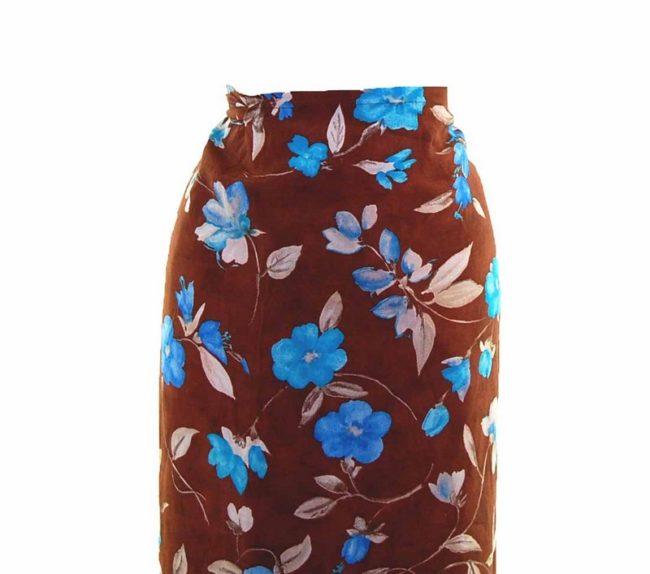 90s Brown Blue Floral Printed Wrap Skirt closeup