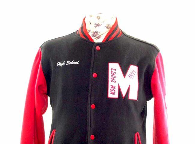 Vintage Red Sport College Jacket closeup