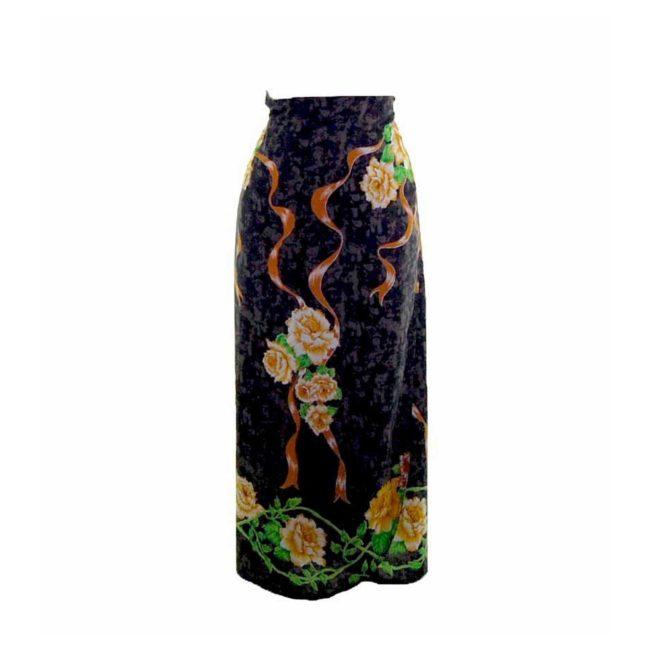 90s Navy Golden Rose Wrap Skirt