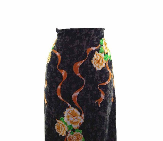 90s Navy Golden Rose Wrap Skirt closeup