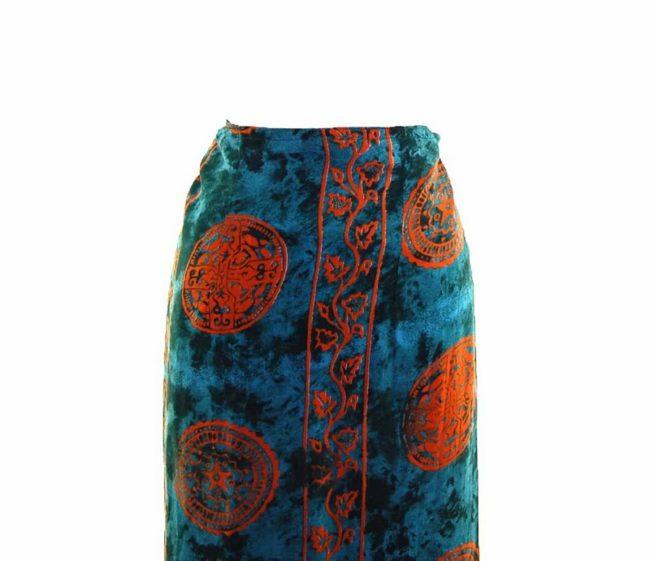 90s Dark Green Printed Maxi Skirt closeup