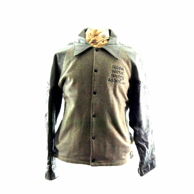 Vintage Grey Leather Varsity Jacket