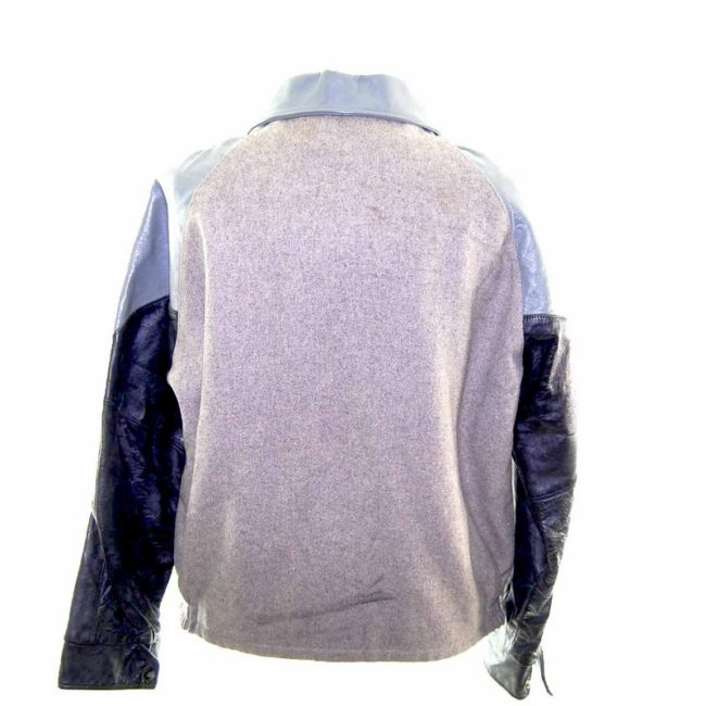Vintage Grey Leather Varsity Jacket back