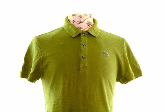 Lacoste Khaki Green Polo Shirt closeup