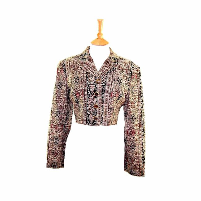 Womens Cropped Tapestry Jacket