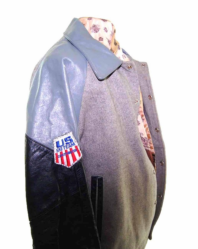 Vintage Grey Leather Varsity Jacket arm