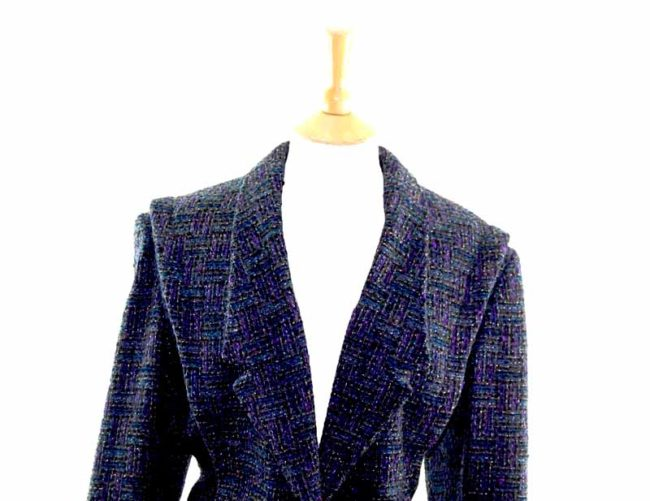 Sparkly Purple Cropped Wool Jacket closeup