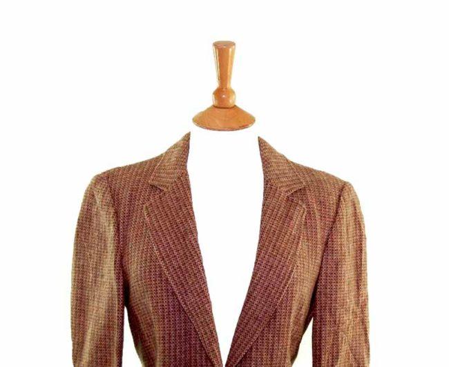 Ladies Caramel Brown Wool Jacket closeup