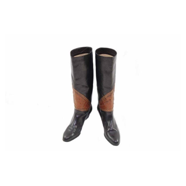 80s Snake Skin Black Leather Boots