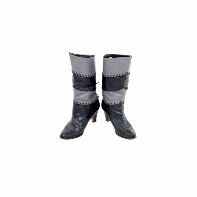 80s Black Patchwork Leather Boots