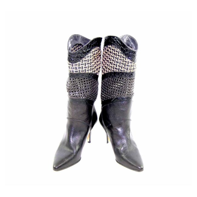 80s Black Straw Cut out Leather Boots