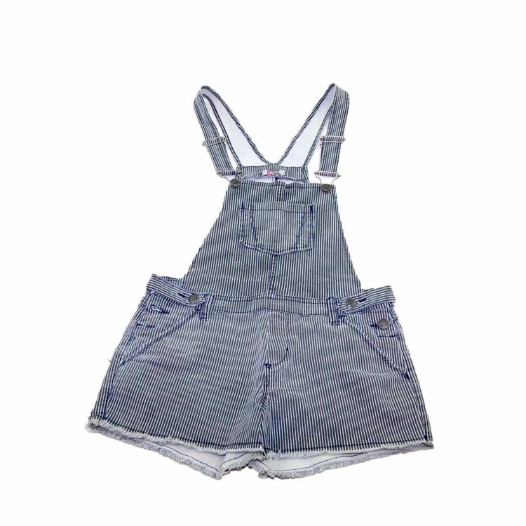 90s Striped Cropped Denim Dungarees