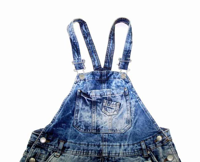90s Marble Wash Cropped Dungarees closeup