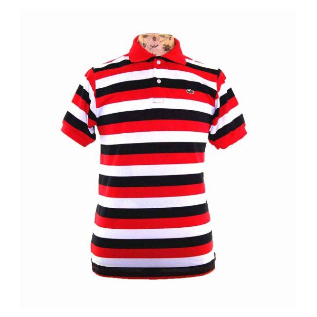 Lacoste Tri Colour Striped Polo Shirt