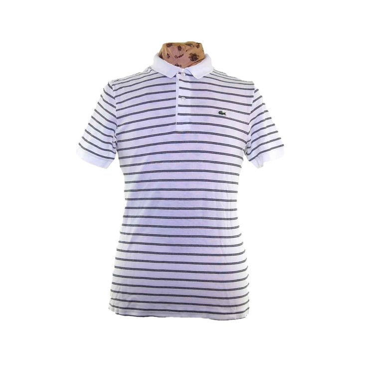 Lacoste White Striped Polo Shirt