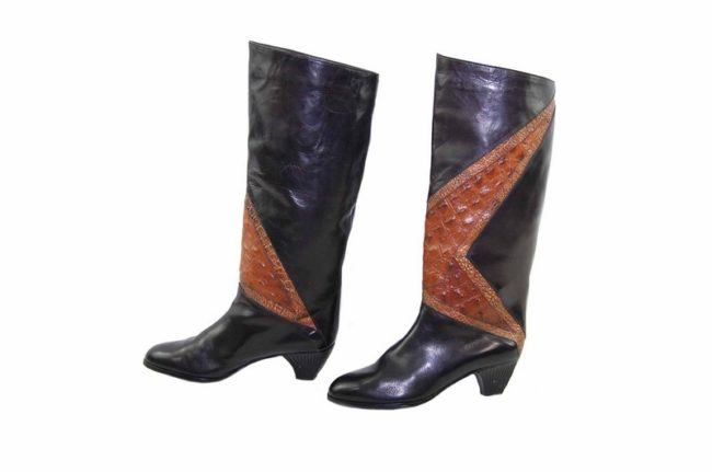 side view of 80s Snake Skin Black Leathers Boots
