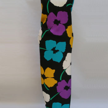 Evening gown with neon flower print. Did people really wear neon coloured clothing in the 80s-By James Galanos, USA, 1980