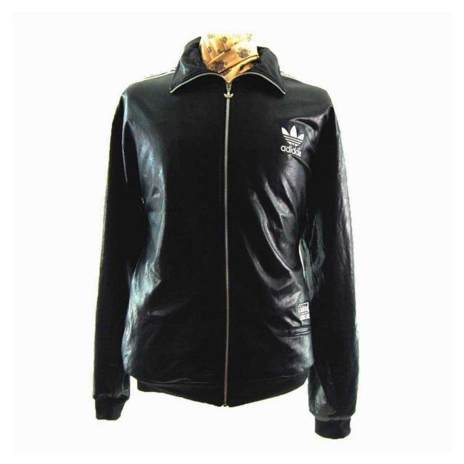 90s Shiny Black Adidas Track Jacket