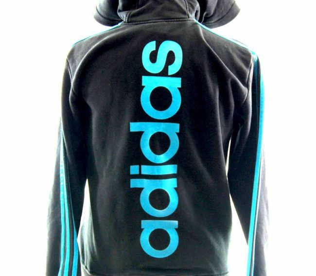 Back of Hooded Black Adidas Track Top